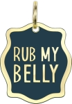 Rub My Belly Hard Enamel Dog Collar Pet Charm from Primitives by Kathy