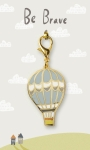 Be Brave Balloon Themed Enamel Charm on Backer Card from Primitives by Kathy