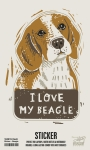 Set of 6 I Love My Beagle Decorative Stickers 2.25x3.75 from Primitives by Kathy