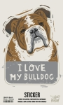Set of 6 I Love My Bulldog Decorative Stickers 2.75x3.75 from Primitives by Kathy