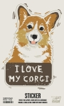Set of 6 I Love My Corgi Decorative Stickers 2.75x4.0 from Primitives by Kathy
