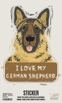 Set of 6 I Love My German Shepherd Decorative Stickers 2.75x3.75 from Primitives by Kathy
