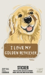 Set of 6 I Love My Golden Retriever Decorative Stickers 2.75x3.50 from Primitives by Kathy