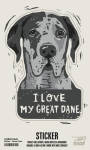 Set of 6 I Love My Great Dane Decorative Stickers 2.75x3.75 from Primitives by Kathy