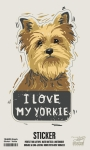 Set of 6 I Love My Yorkie Decorative Stickers 2.25x3.75 from Primitives by Kathy