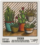 Set of 6 Cactus Themed Decorative Stickers 2x2 from Primitives by Kathy