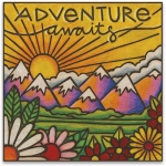 Woodburned Art Adventure Awaits Refrigerator Magnet from Primitives by Kathy