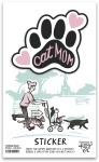 Set of 6 Cat Lover Cat Mom Decorative Stickers 2.5x2.25 from Primitives by Kathy