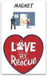 Dog Lover Love My Rescue Decorative Heart Shaped Refrigerator Magnet on Backer Card from Primitives by Kathy