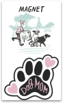 Dog Mom Decorative Pawprint Shaped Refrigerator Magnet on Backer Card from Primitives by Kathy