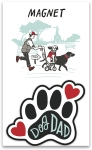 Dog Dad Decorative Paw Print Shaped Refrigerator Magnet on Backer Card from Primitives by Kathy