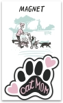 Cat Mom Decorative Paw Shaped Refrigerator Magnet on Backer Card from Primitives by Kathy