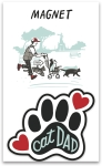 Cat Dad Decorative Pawprint Refrigerator Magnet on Backer Card from Primitives by Kathy