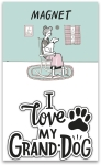 Dog Lover I Love My Granddog Decorative Refrigerator Magnet on Backer Card from Primitives by Kathy