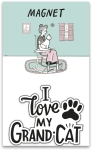 Cat Lover I Love My Grandcat Decorative Refrigerator Magnet on Backer Card from Primitives by Kathy