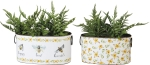 Floral & Bumble Bee Design Happy Kind Humble Set of 2 Decorative Tin Storage Bins from Primitives by Kathy
