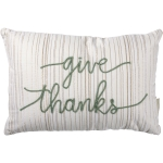 Cream Colored Sage Green Dori Stitched Give Thanks Decorative Cotton Throw Pillow 15x10 from Primitives by Kathy