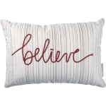 Rectangular White & Red Dori Stitched Holiday Themed Believe Cotton Throw Pillow 15x10 from Primitives by Kathy