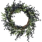 Artificial Blueberries Branch Decorative Wreath 22 Inch from Primitives by Kathy