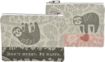 Sloth Design Don't Hurry Be Happy Cotton Zipper Pouch Handbag Wallet from Primitives by Kathy