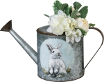 Set of 2 Bunny & Duckling Galvanized Metal Watering Cans from Primitives by Kathy