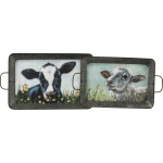 Sheep And Cow Decorative Metal Tray Set from Primitives by Kathy