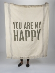 You Are My Happy Decorative Cotton Throw Blanket 50x60 from Primitives by Kathy