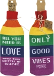 Love & Only Good Vibes Wine Bottle Sock Holder from Primitives by Kathy
