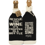 Rescue This Wine It's Trapped In A Bottle Wine Bottle Sock Holder from Primitives by Kathy