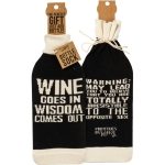 When Wine Goes In Wisdom Comes Out Wine Bottle Sock Holder from Primitives by Kathy