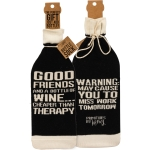 Good Friends And A Bottle Of Wine Bottle Sock Holder from Primitives by Kathy