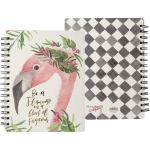 Be A Flamingo In A Flock Of Pigeons Double Sided Spiral Notebook (120 Pages) from Primitives by Kathy