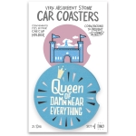 Set of 2 Queen Of Damn Near Everything Stoneware Car Drink Coasters 2.5 Inch from Primitives by Kathy
