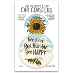 Set of 2 Be Kind Bee Humble Bee Happy Stoneware Car Drink Coasters 2.5 Inch from Primitives by Kathy