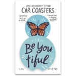 Set of 2 Butterfly Design Be You Tiful Stoneware Car Drink Coasters 2.5 Inch from Primitives by Kathy