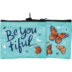 Butterfly Design Be You Tiful Double Sided Zipper Wallet Handbag from Primitives by Kathy