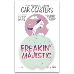 Set of 2 Unicorn Themed Freakin' Majestic Stoneware Car Drink Coasters 2.5 Inch from Primitives by Kathy