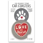 Set of 2 Dog Lover Love My Rescue Stoneware Car Drink Coasters 2.5 Inch from Primitives by Kathy