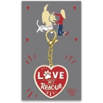 Pet Lover Love My Rescue Hard Enamel Key Chain from Primitives by Kathy