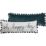 Luxe Velvet Oh Happy Day Pom Trim Decorative Throw Pillow 24x8 from Primitives by Kathy