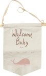 Welcome Baby Pink Whale Themed Cotton Banner 10x14 from Primitives by Kathy