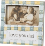 Watercolor Plaid Design Love You Dad Decorative Wooden Photo Picture Frame (Holds 5x3 Photo) from Primitives by Kathy