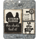 Set of 3 Farm House Themed Wooden Refrigerator Magnets from Primitives by Kathy