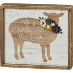 Sheep Design Life Is Better On The Farm Decorative Inset Wooden Box Sign 9x8 from Primitives by Kathy