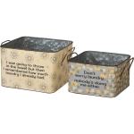 Set of 2 Laundry Themed Galvanized Metal Bins (Throw In The Towel & Don't Worry Laundry) from Primitives by Kathy
