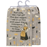 I Fall Off The Diet Wagon Cotton Dish Towel 28x28 from Primitives by Kathy