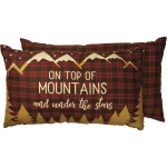 Outdoor Themed On Top Of The Mountains & Under The Stars Decorative Cotton Throw Pillow 25x15 from Primitives by Kathy