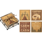 Set of 4 Camping & Outdoor Themed Absorbent Stoneware Drink Coasters 4x4 from Primitives by Kathy