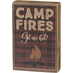 Campfires Get Me Hot Decorative Wooden Block Sign 3x4.5 from Primitives by Kathy