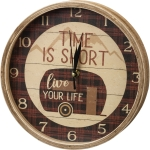 Camper Themed Time Is Short Live Your Life Decorative Wall Clock 9.5 Inch from Primitives by Kathy